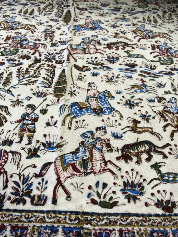 """Very unique Hunting Scene Collectible tapestry art , 60"""" handprinted calico tablecloth , Reversible"""