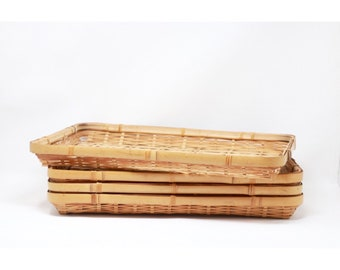 set of 4 vintage bamboo serving trays, rattan tray, placemats