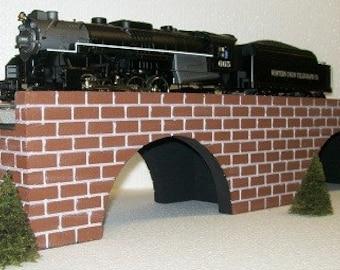 Model Railroad O Gauge Bridge / Two Foot Arch Train Bridge with Brick-Look