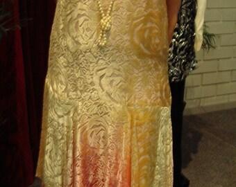 REDUCED Original 1920's Ombre' Pink/ Beige Devore' Silk Velvet  Gown  Size 10/12  Item #230 Dresses & Gowns