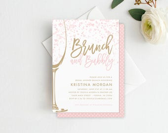 Wedding invitations save the dates business by malloryhopedesign brunch bubbly bridal shower invitation bridal shower brunch champagne brunch champagne invitation stopboris Image collections