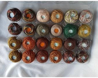 Lot de 24 Valdani broderie de fil de coton; Taille 8 et 12