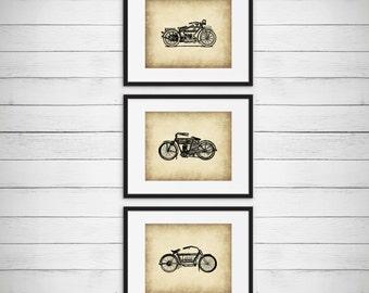 Classic Motorcycle Art - Boys Motorcycle Room - Vintage Artwork Wall Art - Garage Decor - Antique Motorcycle Print - Set of 3 Prints