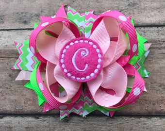 Monogrammed Bow - Initial Bow - Initial Hairbow - Personalized Hairbow - Monogrammed Hairbow - Boutique Bow - Girls Bow - Monogram - Initial