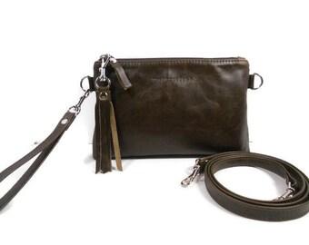 Leather Crossbody Phone Purse, Minimalist Purse, Crossbody Wristlet, Crossover Bag, Leather Boho Crossbody Bag, Gift for Wife, Made in USA