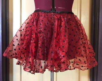 Clearance!  Sheer red and black polka dot circle skirt, S/M, by Jupiter Moon 3