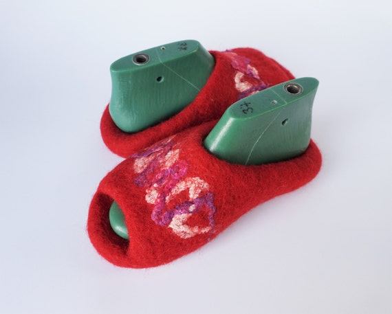 red Felted felted slippers womens natural on wool slip backless slippers open slippers toe shoes slippers felt house wool slippers wool FFfrw8