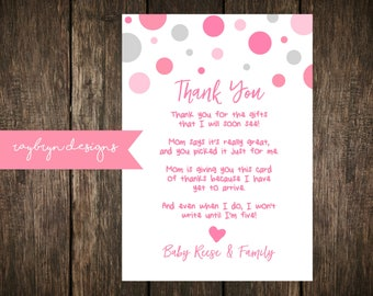 Pink & Grey   Baby Shower or Sprinkle   Thank you Card   Personalized   Printable file