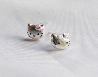 dangle earring, 1 pair, head of cats, silver plated jewelry findings
