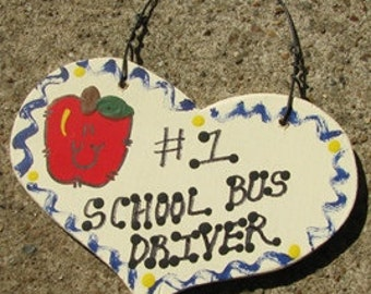 School Bus Druver Teacher Gifts Number One 815  School Bus Driver Heart Handmade