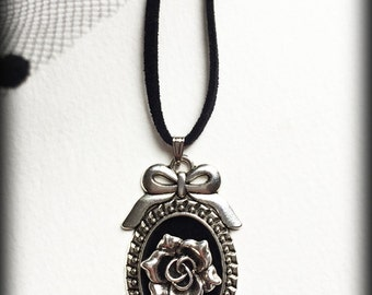 Silver Rose Necklace, Gothic Victorian Pendant, Black Velvet Cameo, Victorian Jewelry, Elegant Jewelry, Handmade Necklace, Romantic Gift