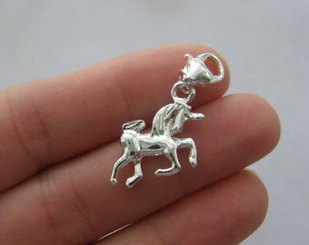 4 Unicorn clip on charms silver plated tone A495