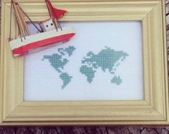 World Map Instant Download Cross Stitch Chart