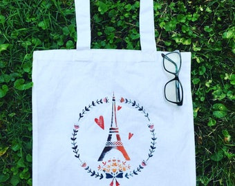 Eiffel Tower Tote Bag, Floral Tote, Eiffel Tower Bag, Lunch Bag, Eiffel Tower Tote Bags, Floral Tote Bags, Eiffel Tower Gift, Paris Tote