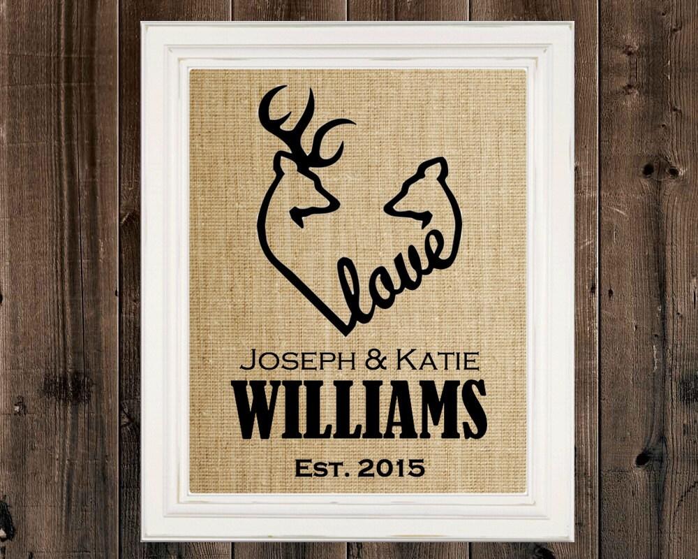 Wedding Gift Paintings: Deer Heart Sign Wedding Gift Housewarming Gift Buck Art Hunter