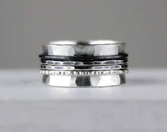 Unique Ombre Hammered Silver Spinner Ring, Meditation Ring, Recycled Silver