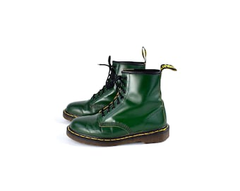 Original 1980's 1460 Green Dr. Marten Boots, Made in England, 8 Eyelet Lace Up