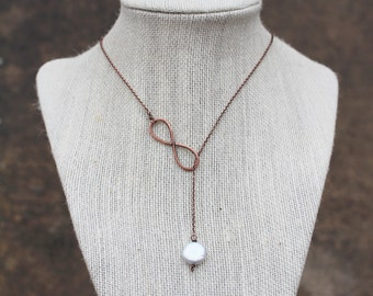 Infinity Lariat Necklace, Pearl, Coin Pearl, Oxidized Copper, Minimalist, Wire Jewelry