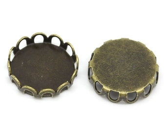 10 Antique Bronze Cabochon Settings, filigree bezel tray fits 12mm round cabochons, fin0525