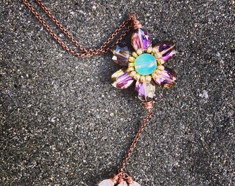 Beaded flower with hanging chalcedony