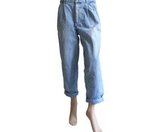 Light Blue 1990s Denim Chino Boyfriend Pants Size M E D I U M