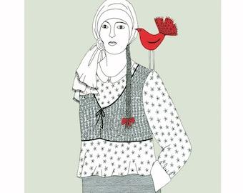 Pen and ink drawing, Woman with bird, Red bird drawing, Art illustration, Pale green art, Bird illustration, 10 x 8 print, Folk art,