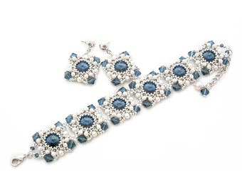 Blue and silver beadwork set of bracelet and earrings with Swarovski crystals and pearls