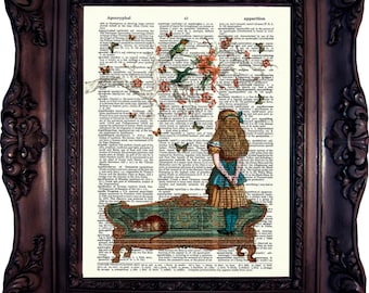 Alice in Wonderland Decor Art Print on Book Page. Alice in Wonderland decoration. Alice in Wonderland Print. Alice in wonderland Art C:540