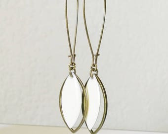Earrings bronze navette and two-sided cream spring enamel was