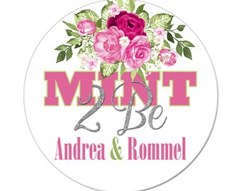 Personalized Mint 2 Be Labels / Engagement Stickers / Wedding Labels / Favor Labels / Pink Green Flowers / Floral Bouquet / Bridal Shower