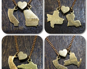 State Loves State Charm Necklace - You Choose