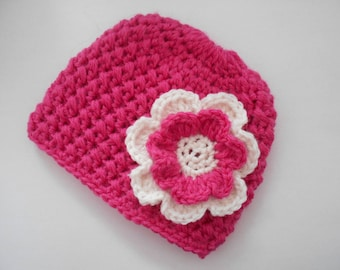 baby bonnet, baby girl Hat hand-made in 100% alpaca wool