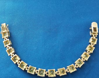 Vintage sterling silver bracelet with square pear colored stones