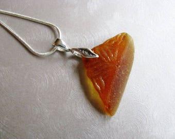 Amber Sea Glass Sailboat Pendant - Sea Glass Jewelry - Sea Glass Necklace - Beach Glass Jewelry-Textured Sea Glass from Prince Edward Island
