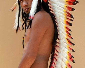 Indian headdress replica, long length, feather headdress native american inspired, festival headdress