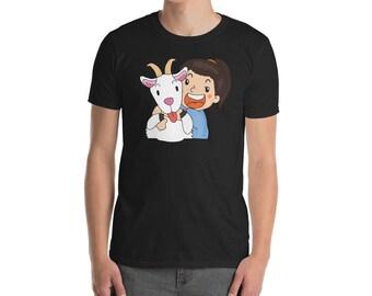 Goat Shirt, Funny Goat Gift, Girl Hugging A Goat T-Shirt
