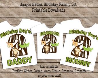 Jungle Babies Birthday Theme Family Set Digital Printables for iron-ons, heat transfer, Scrapbooking, DIY YOU PRINT