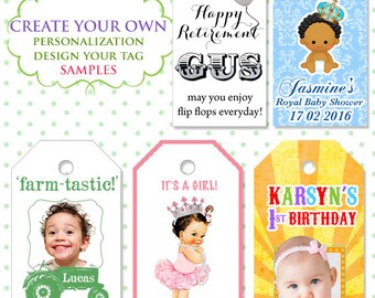 Personalize Custom tags - Birthday - Wedding/baby shower - With a purchase of favours