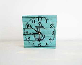 Anchor Shelf Clock, Small Desk Clock, Nautical Shelf Decor, Bookshelf Clock, Unique Clocks, Clock for Shelf, Clock for Desk, Turquoise Decor