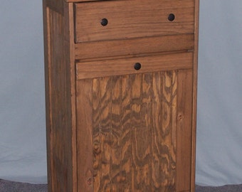 Wooden Tilt-Out Trash Bin with Drawer