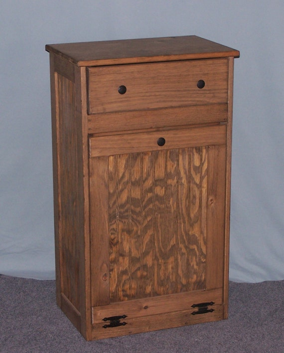 Wooden Tilt Out Trash Bin With Drawer