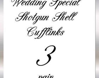 Nickel Shotgun Shell Cufflinks Remington 12 Gauge 3 Pair Groomsmen