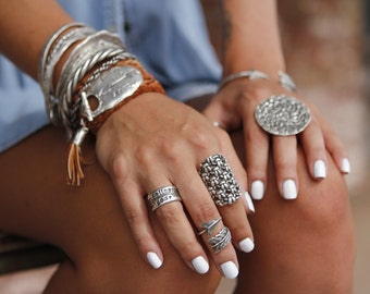 Chunky Boho Ring, Chunky Sterling Silver Rings, Boho Jewelry Chunky Ring, Chunky Boho Ring, Hippie Ring, Knit Crochet Wide Ring Boho Fashion