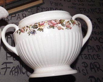 Vintage (c.1970s) Wedgwood Conway 8384 Edme shape double-handled sugar bowl (no lid).  Multicolor flowers, ribbed body.