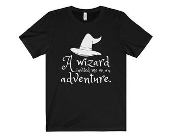 A Wizard Invited Me On An Adventure Unisex Short Sleeve Tee - The Hobbit - Gandalf - Bilbo - Fandom