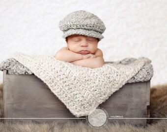 Newborn Baby Boy Hat Irish Donegal Cap Gray Baby Hat Cream Crochet Donegal Hat Newborn Photo Prop Baby Boy Gift Flat Cap Paper Boy Newsboy