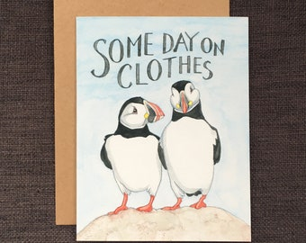 Some Day On Clothes / Notecard / Blank Inside / FREE SHIPPING