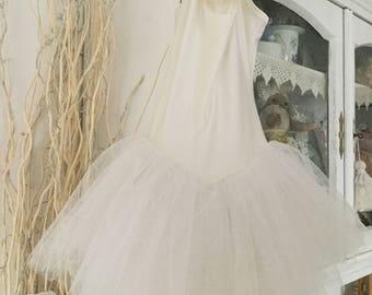 Ballet Tutu Beige/white tulle vintage Shabbychic dress Tanzdress jersey Tutu Rhinestone Tulle Lace
