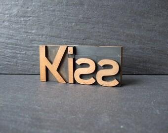 A Simple KISS -  Vintage Letterpress Word