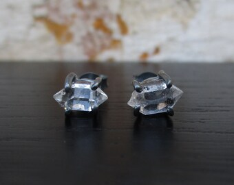Herkimer Diamond Stud Earrings, minimal oxidized sterling silver earrings, raw crystal earrings, rough stone earrings, black post earrings